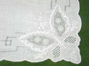 Antique Vintage Hanky Hand Embroidery Lace Butterfly Embroidered Bridal Wedding