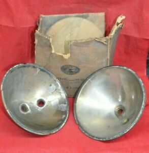 Ford Model A Brass Headlight Reflectors Two Bulb 8 5 Vintage Orig Set Reflector