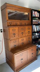 Antique Tiger Oak Lawyer Stacking Bookcase Filing Cabinets Wabash Co Original