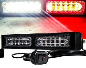 9 White Red High Intensity Led Flash Strobe Light Bar Interior Dash Mount 12v