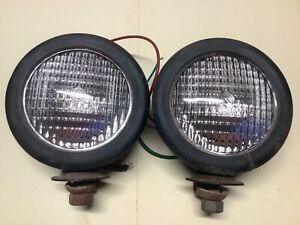 Pair Vintage Tractor Light Ag Equipment Lamps Old Farm Lites