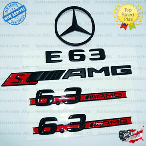 W212 E63 E63s Amg 6 3 Amg Rear Star Emblem Black Badge Combo Set Mercedes