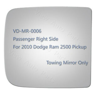 Upper Towing Mirror Glass For 2010 Dodge Ram 1500 Pickup Passenger Side Rh 4340