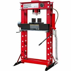 Strongway 50 Ton Pneumatic Shop Press With Gauge And Winch