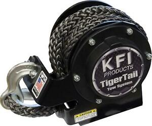 Tow Strap Tigertail Tow System 12000 Lbs Rating Black Synthetic Rope Metal Hook