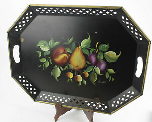 Large Vintage Toleware Fruit Nashco Tole Metal Painted Tray 15 X 20 Signed