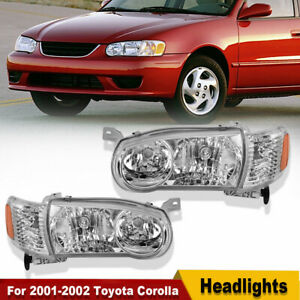Headlights Assembly For 2001 2002 Toyota Corolla W Corner Signal Headlamps Pair