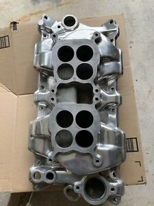 Small Block Chevy Dual Quad Polished Aluminum Intake Manifold