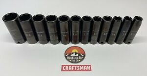 Craftsman 12 Pc 1 2 Drive 6 Point Deep Mm Metric Impact Socket Set 12 27mm
