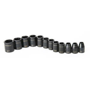 Craftsman 12 Pc 1 2 Drive 6 Point Shallow Mm Metric Impact Socket Set 12 27mm