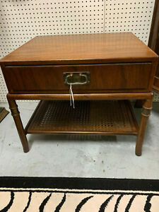Hickory Furniture Co Mid Century Modern Side Table Drawer Bottom Cane Shelf