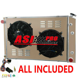 3 Row Radiator Shroud Fan Thermostat For 73 91 Chevy C10 C20 C30 K20 K10 Pickups