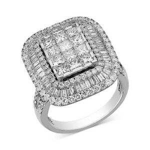 3 ctw Diamond Square Halo Ring in 14k White Gold Black Friday Deals