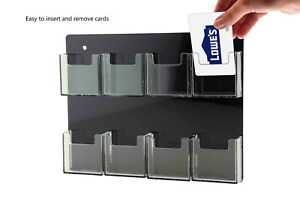 Business Card Holder Acrylic 8 Pocket Clear Black Vertical Wall Mount Qty 6