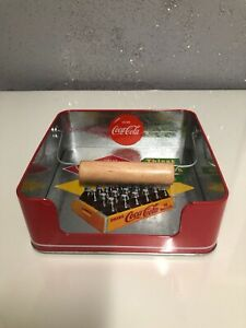 Vintage Coca Cola Napkin Holder. Metal with wood weight Coke