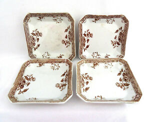 4 Pc Challinor England Melbourne Aesthetic Brown Transferware Fruit Dishes Bowls