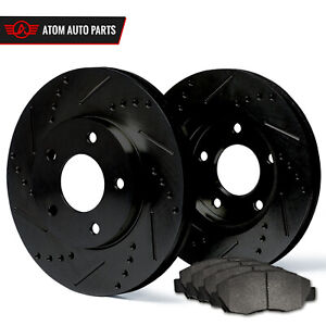 2013 Ford Mustang see Desc black Slot Drill Rotor Metallic Pads R
