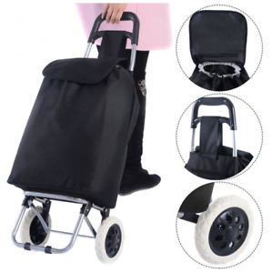 Shopping Trolley Bag Cart Grocery With Wheels Foldable Portable Heavy Duty Black