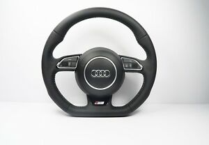 New Audi Q5 Sq5 Flat Bottom Perforated Leather Steering Wheel 1160