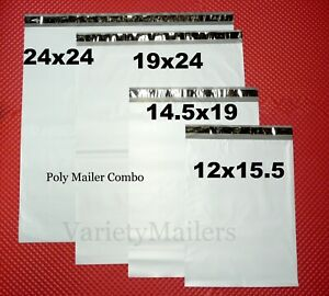 60 Large Poly Bag Mailer Variety Pack 15 Each Of 4 Big Sizes Shipping Bags