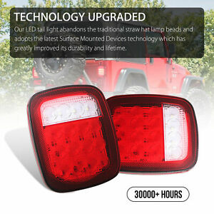 Fit Jeep Wrangler Tj Cj Yj Led Tail Light Rear Light Brake Reverse Turn Signal
