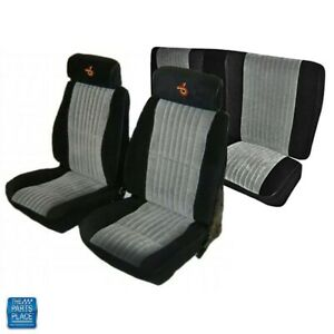 1985 1987 Grand National Front Bucket Rear Bench Seat Covers Black Gray Set