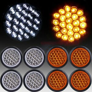 8 Amber White 4 Round 24 Led Trailer Truck Side Marker Clearance Tail Light