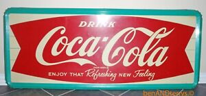 Drink Coca Cola Large Advertising 1960's Era Fishtail Sign 59x24x1.25