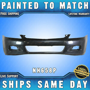 New Painted Nh658p Graphite Front Bumper Cover For 2006 2007 Honda Accord Sedan