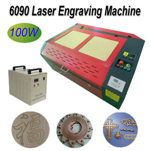 Cnc 6090 100w Laser Engraving Machine cw 3000 Water Chiller Rotary Axis Cutter