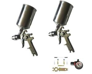 Professional 2pcs Hvlp Air Spray Gun Kit Spray Gun Gravity Feed Paint Sprayer Us