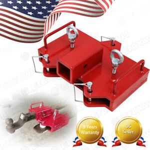 2 Trailer Hitch Receiver Fit For Dual Pallet Forks Forklift Towing Attachment