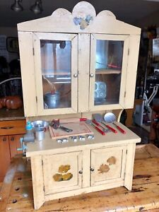 Antique Primitive Childs Stepback Baking Cupboard Made From Explosives Boxes