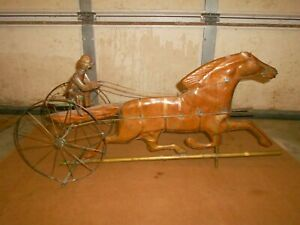 Vintage Copper Horse And Jockey In Sulky Weathervane Only 32 Nice