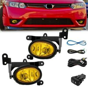 Yellow Lens Bumper Driving Fog Light Switch For 06 08 Honda Civic 2dr