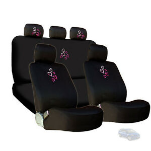 For Mazda New Embroidery Pink Red Hearts Car Seat Headrest Covers Gift Set