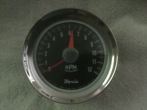Rare Vintage Faria 12k 8 Cyl Tachometer Nos 3 3 4 Inches Ford