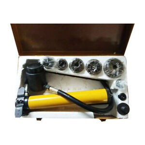 Hydraulic Knockout Punch Driver Kit 6 Die Conduit Hole Punch Tool Hand Pump Kit