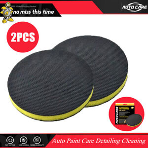 2pcs 6 Clay Bar Pad Car Wash Sponge For Polisher Disc And Hand Strap Applicator