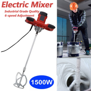 Ac110v Electric Mortar Mixer 1500w Dual High Low Gear 6 Speed Paint Cement Grout