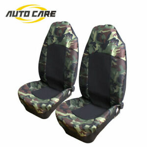 2pcs Universal Car Front Seat Covers Camouflage Truck High Back Bucket Protector