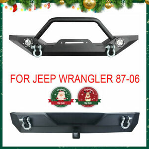 Front Rear Bumper W Led Lights Hitch Receiver For 87 06 Jeep Wrangler Tj Yj A