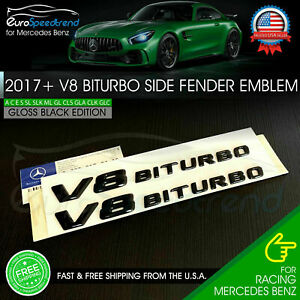 V8 Biturbo Emblem Side Fender 3d Badge Mercedes Benz Amg 17 Gloss Black C63 E63