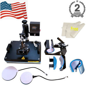 Combo 5 In 1 Kits Heat Press Machine Transfer 12inx15in For T shirt Mug Cup Hat