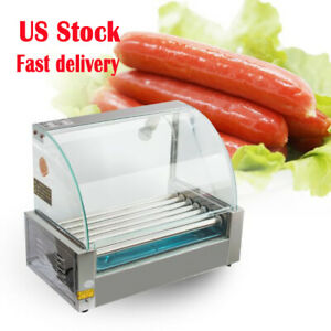 18 Hot Dog 7 Roller Grill Stainless Steel Cooker Machine cover Dust Shield Led
