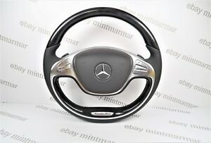 Mercedes Benz Amg S Class W222 S550 Black Wood Leather Steering Wheel