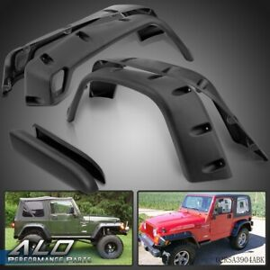 Wide Black Pocket Extended Fender Flares Kit For 97 06 Jeep Wrangler Tj
