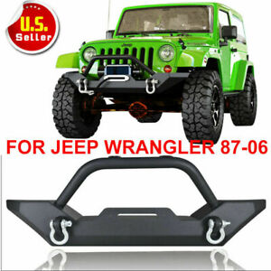 For 87 06 Jeep Wrangler Front Bumper Textured W Winch Plate Led Lights Tj Yj