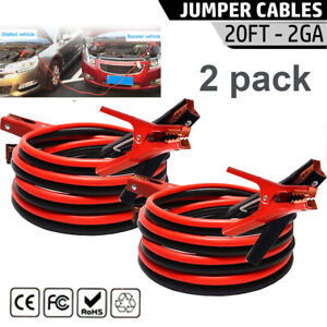 2pack 20ft 2 Gauge Battery Jumper Heavy Duty Powered Booster Cable Emergency New