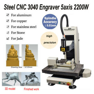 Steel 5axis 2200w Cnc 3040 Router Engraver Milling Cutting Carving Diy Machine